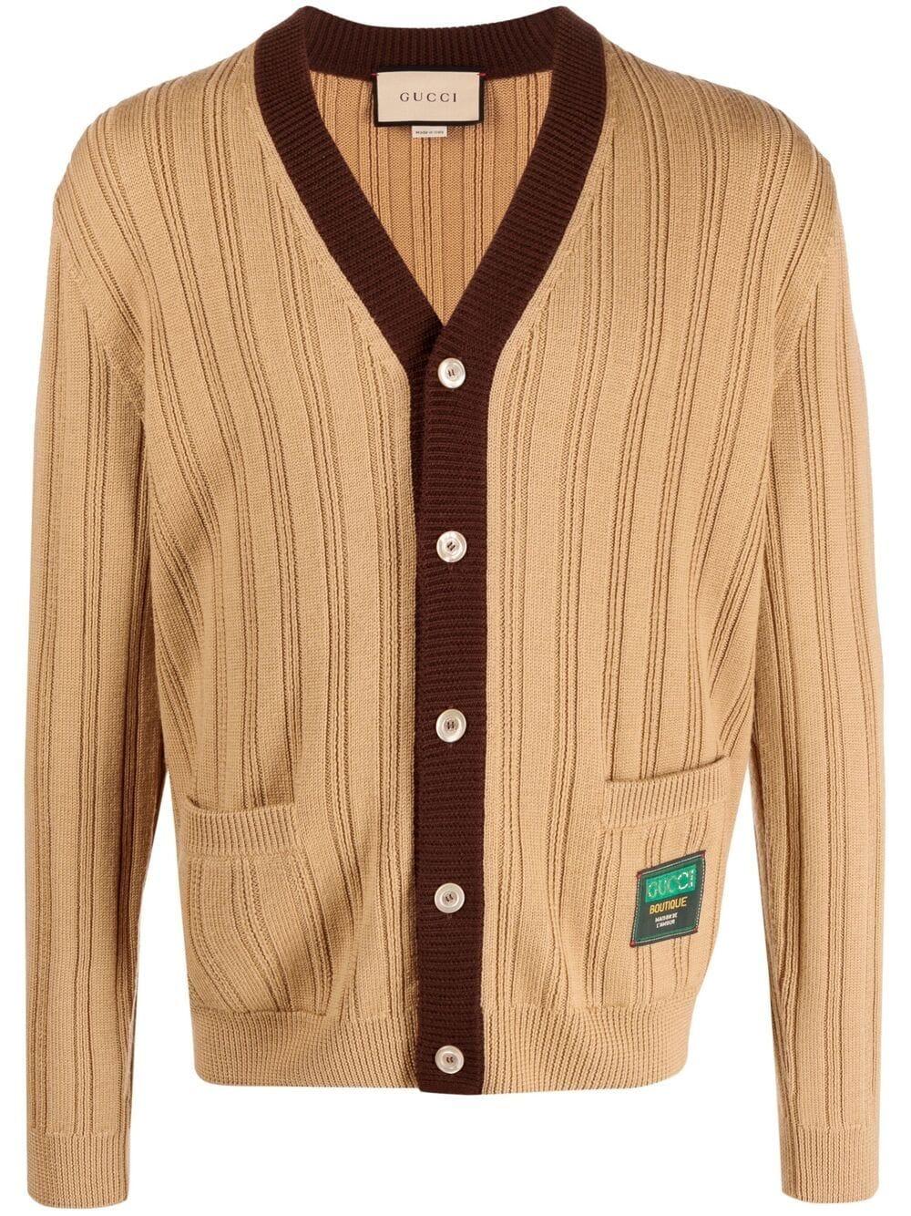 Cardigan in lana marrone cammello con lavorazione a coste e scollo a V GUCCI | Cardigan | 646809-XKBQT2668