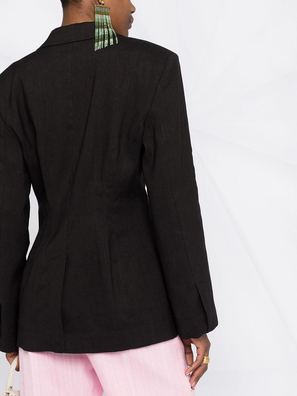 Giacca monopetto La veste Novio in lana vergine nera e cotone JACQUEMUS   Giacche   211JA02-103990