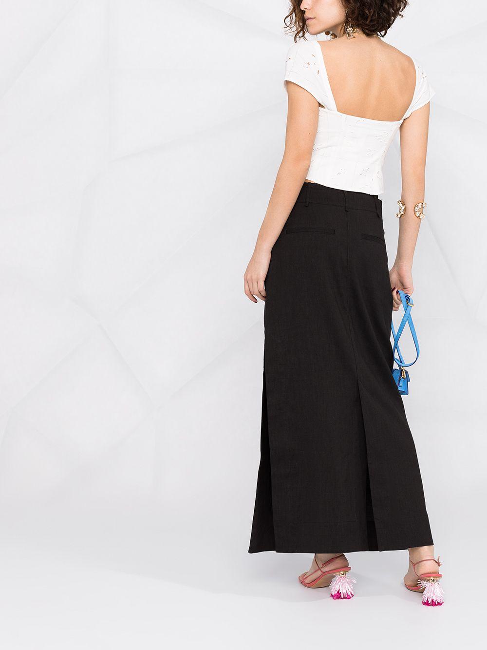 Blusa in sangallo ricamato in cotone e lino bianco con scollo a cuore JACQUEMUS | Camicie | 211TO07-113114