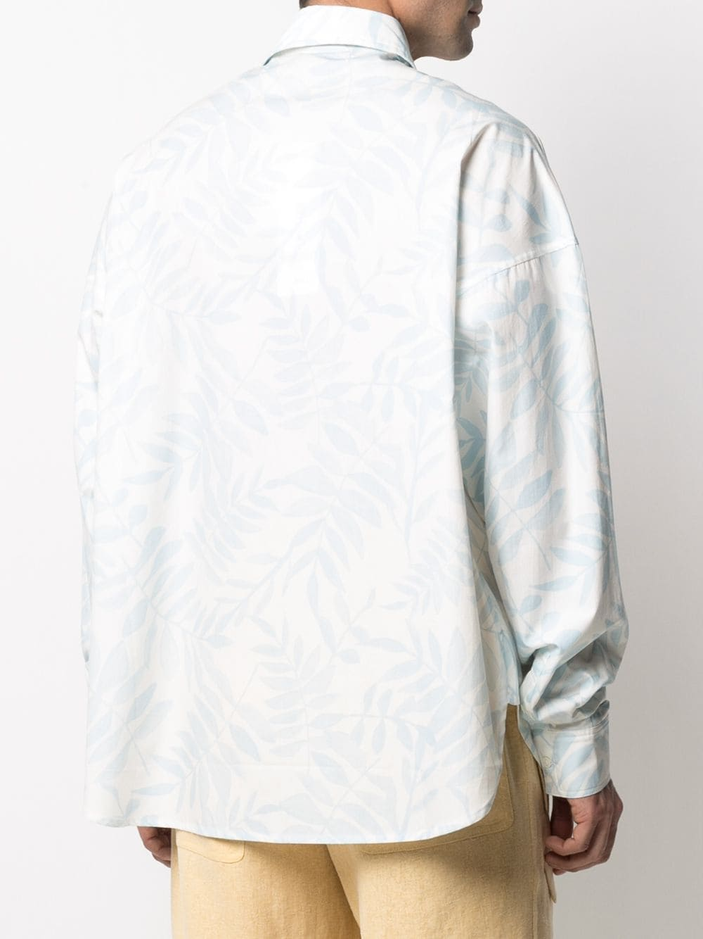 White and light blue cotton leaf-print shirt  JACQUEMUS      215SH05-113143