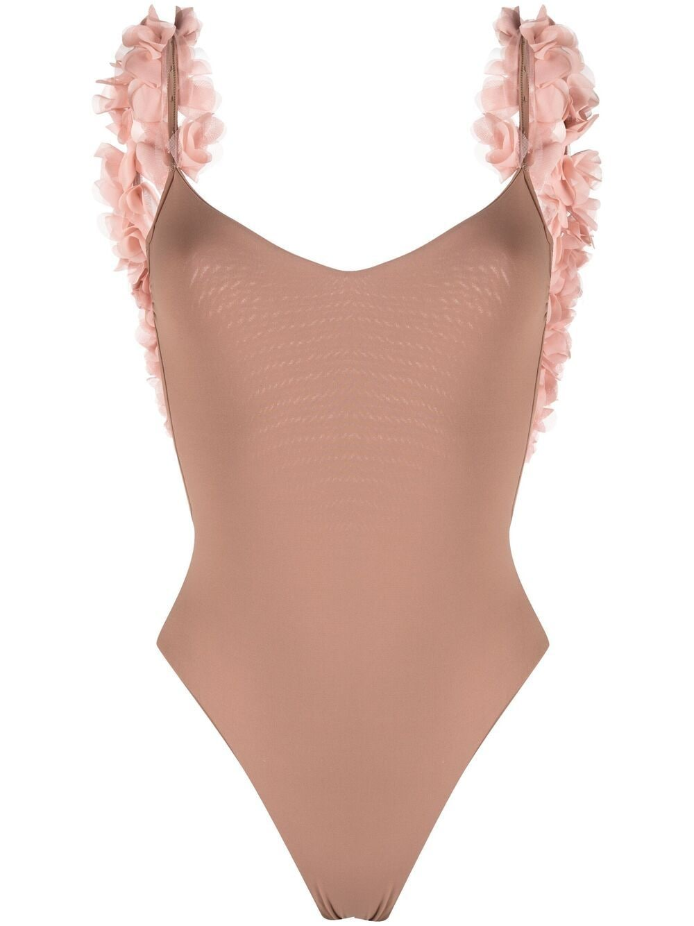 Costume da bagno intero Amira marrone sabbia con applicazioni floreali rosa LA REVECHE | Costumi | AMIRASAND