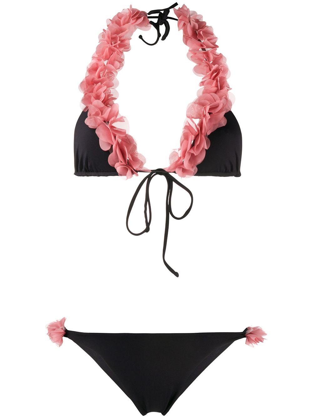 bikini nero Jamila con volant rosa LA REVECHE   Costumi   JAMILABLACK