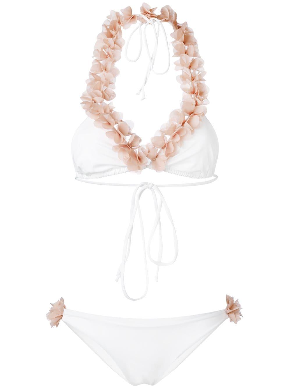 Bikini bianco Jamila con applicazioni floreali rosa LA REVECHE | Costumi | JAMILAWHITE