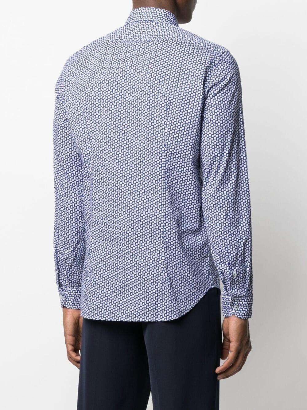 Camicia in cotone in micro fantasia floreale blu e bianca MANUEL RITZ | Camicie | 3032E601L-21324188