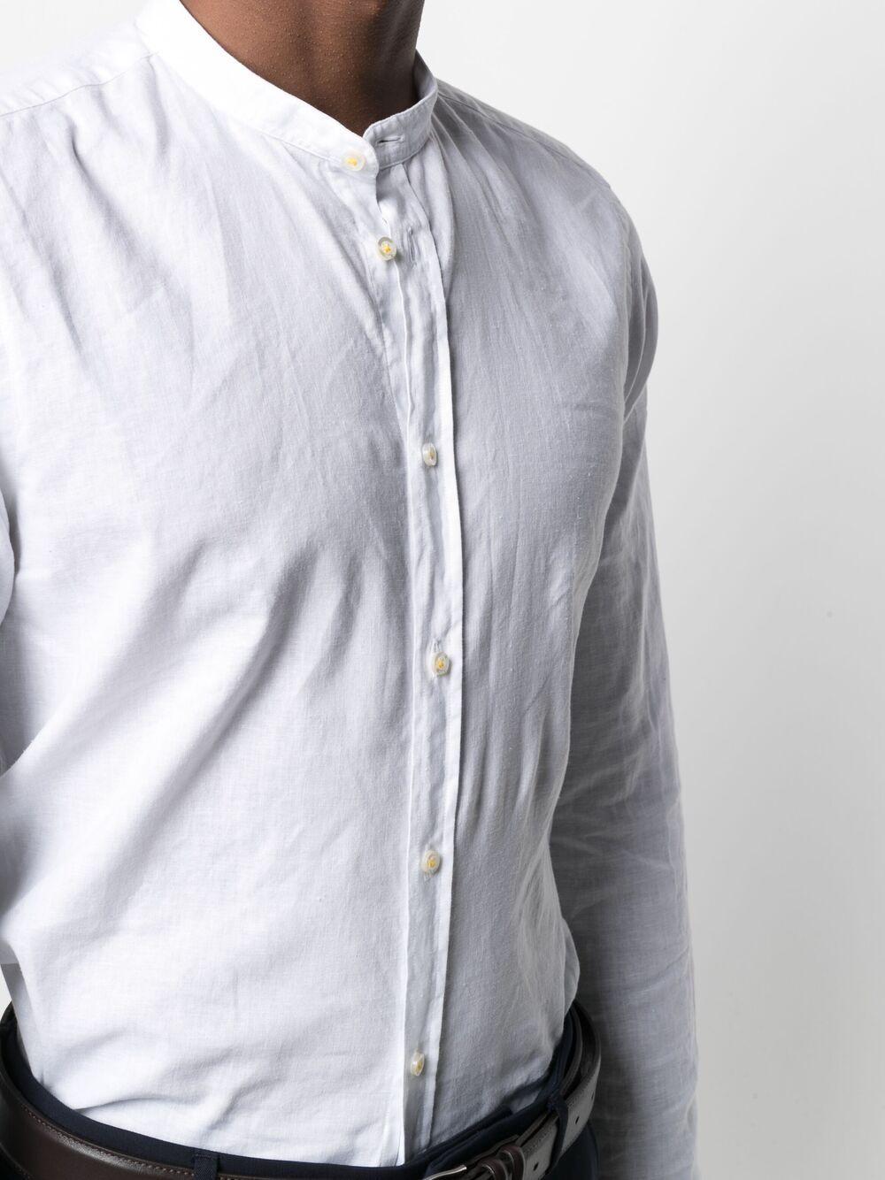 White cotton and linen shirt featuring band collar MANUEL RITZ |  | 3032E604L-21323702