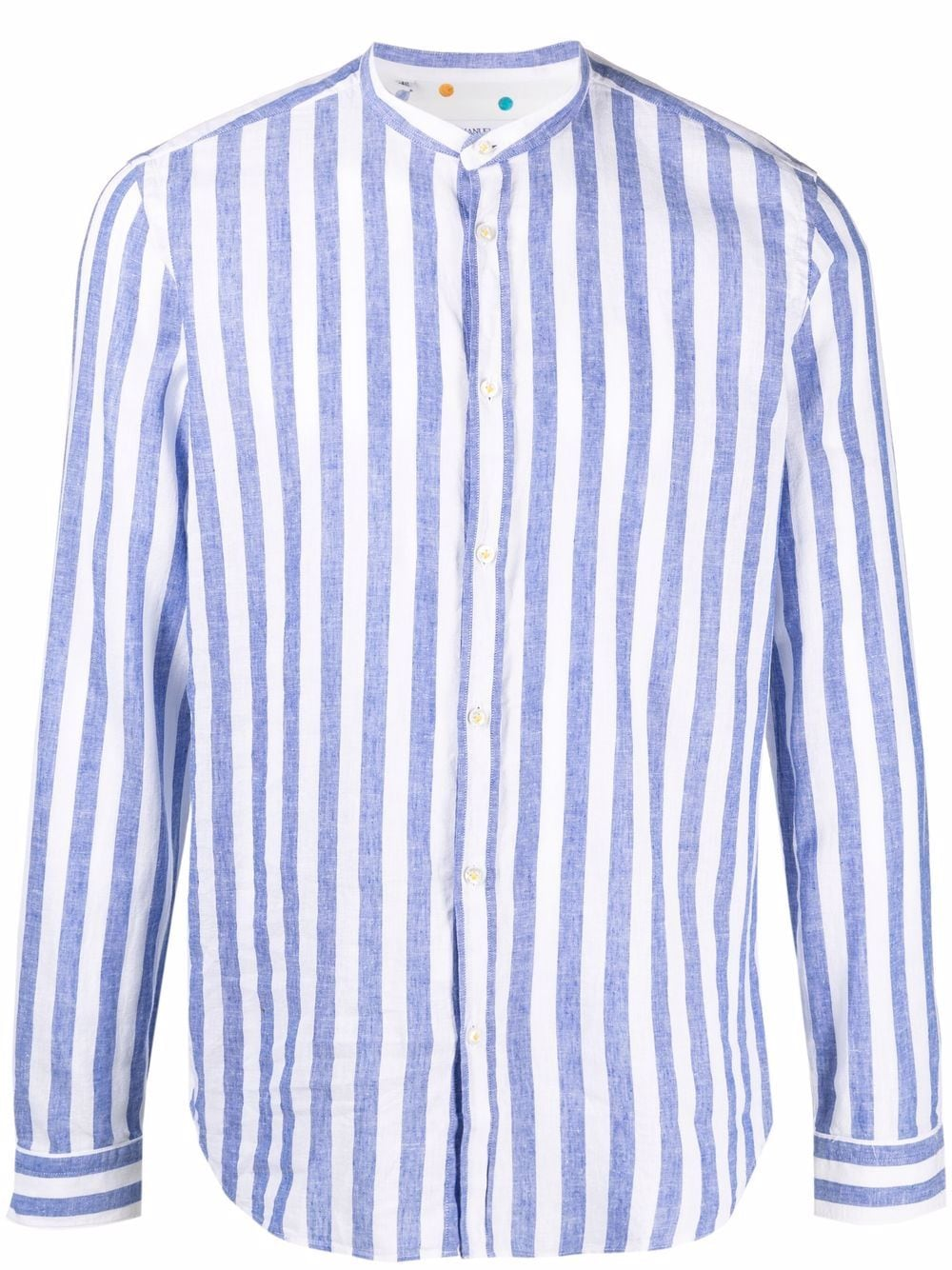 Blue and white cotton and linen collarless striped shirt MANUEL RITZ      3032E604L-21324287