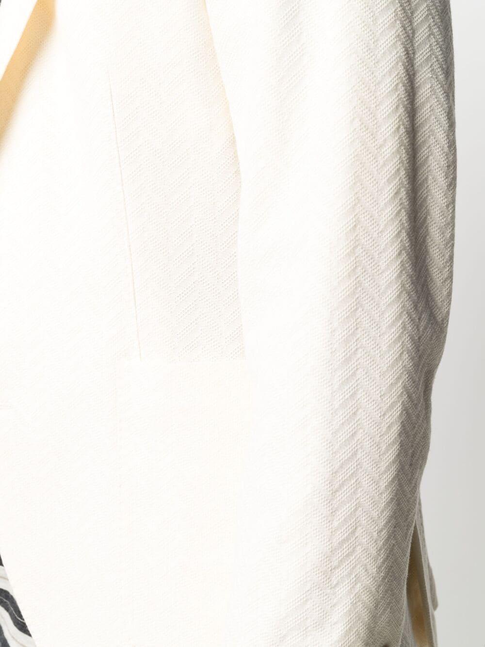 Cream cotton-blend zigzag-textured blazer  MANUEL RITZ      3032G2728M-21318803