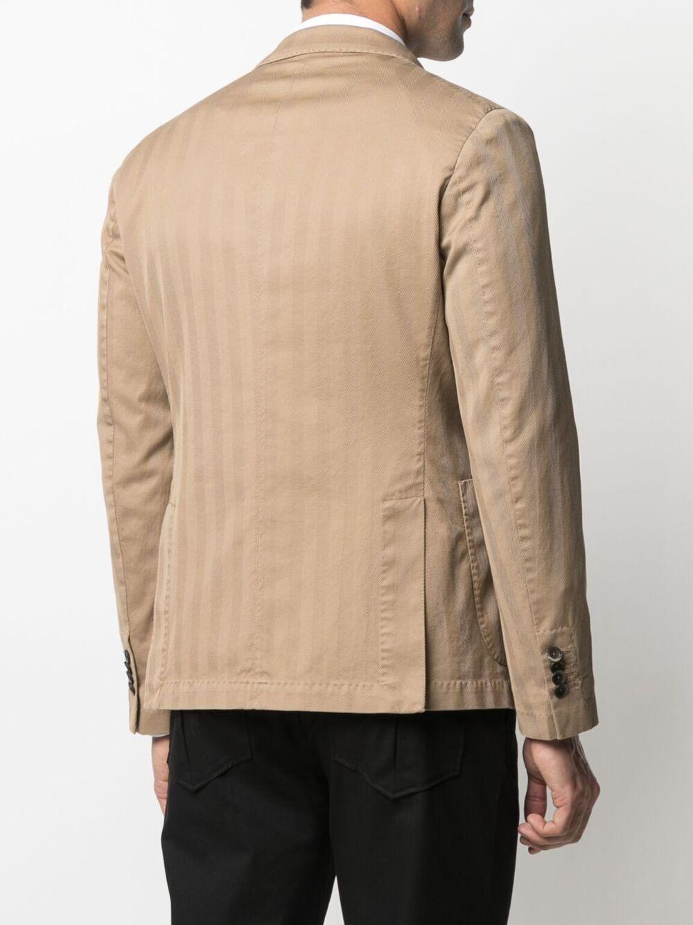 Camel cotton double-breasted stripe blazer  MANUEL RITZ |  | 3032G2738T-21300323