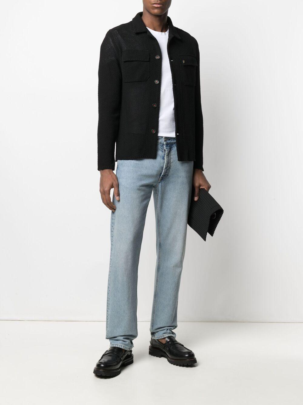 Black cotton fine-knit shirt featuring classic collar MANUEL RITZ |  | 3032M591-21330399