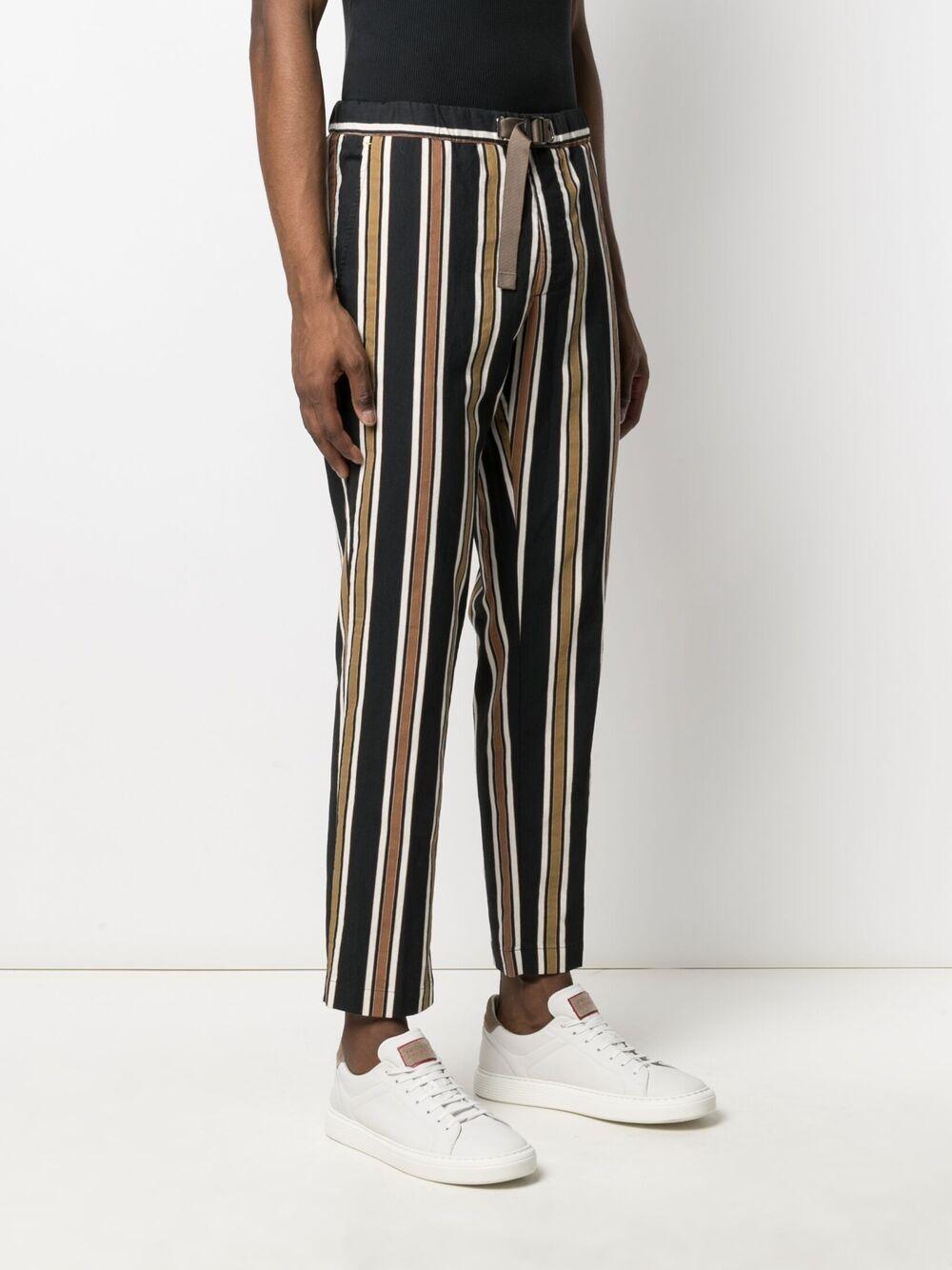 Pantaloni neri, bianchi e beige in misto cotone e lino MANUEL RITZ | Pantaloni | 3032P1618L-21302088