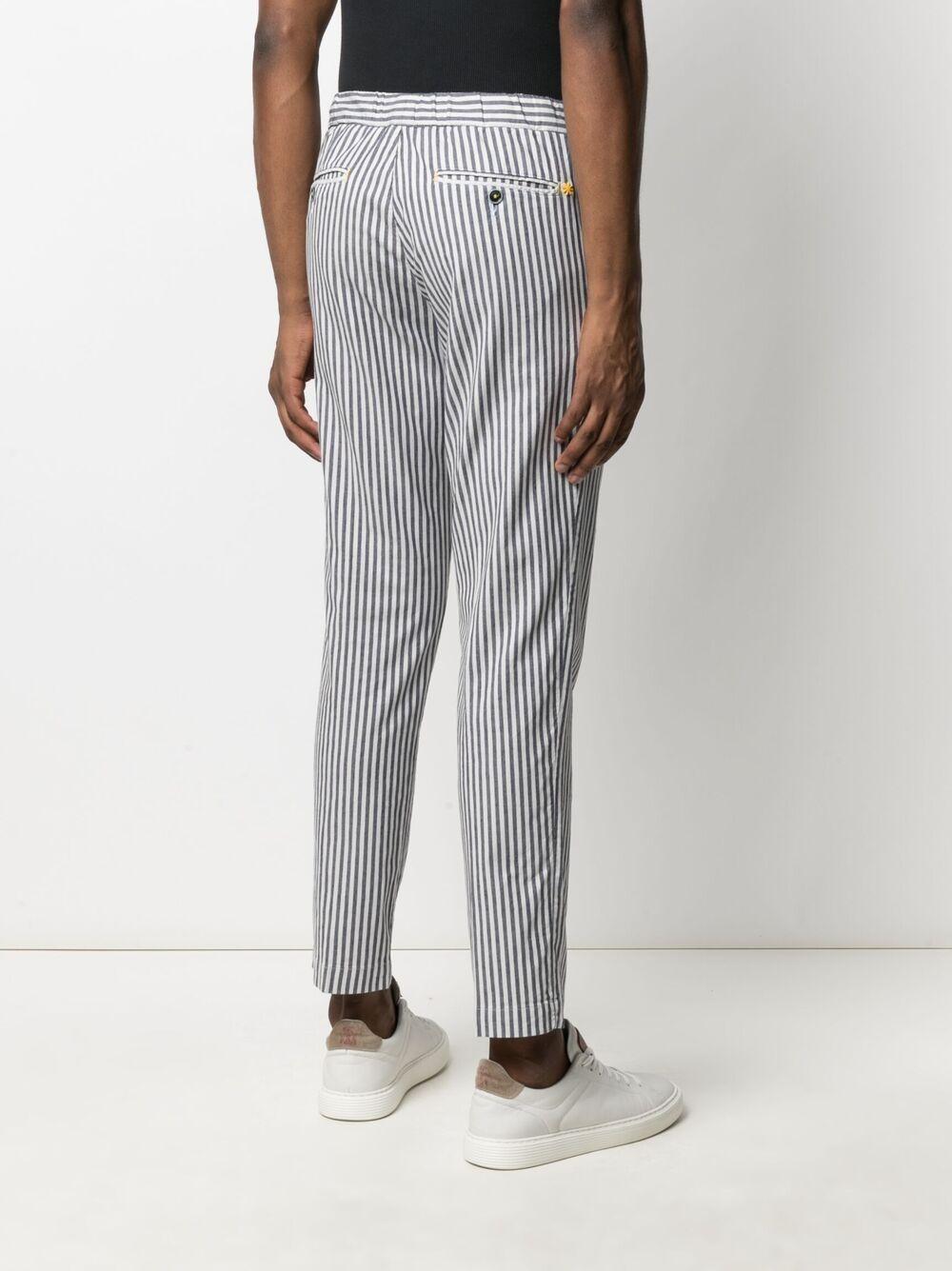 Pantaloni a righe blu navy e bianco in cotone a a righe verticali MANUEL RITZ | Pantaloni | 3032P1618L-21302189