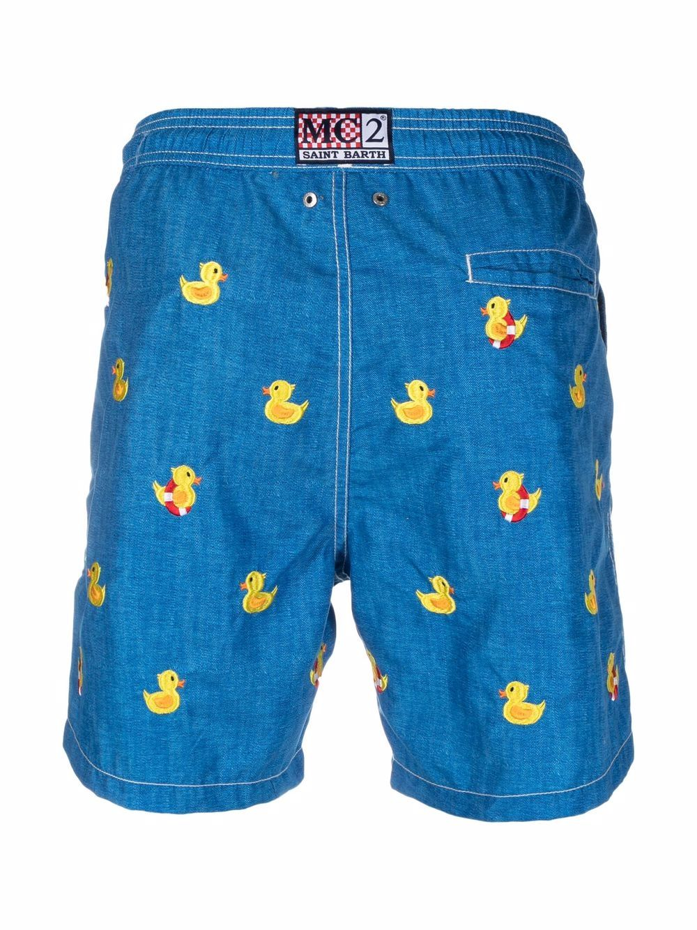 Denim blue and yellow embroidered-duck swim shorts MC2      GUSTAVIA EMBROIDERY-DONALD LOOKLIN61