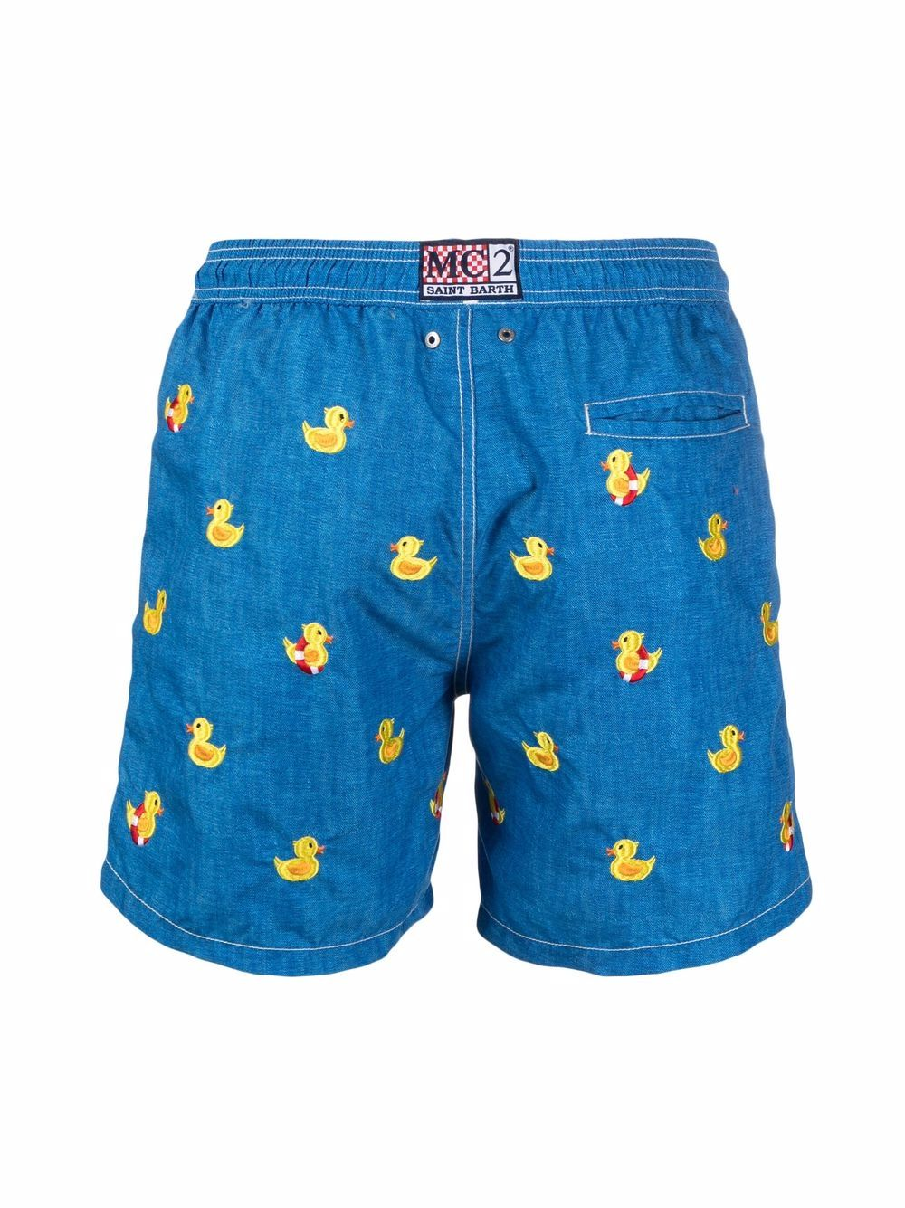 Navy blue and yellow embroidered duck swim shorts  MC2 |  | GUSTAVIA EMBROIDERY-DUCKY DEN31