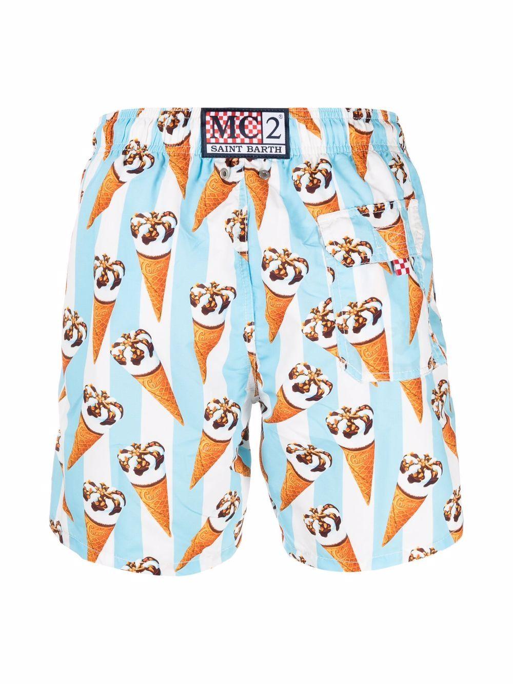 Pantaloncini da bagno blu con stampa Cornetto MC2 | Costumi | GUSTAVIA-ALGI CONELIG31