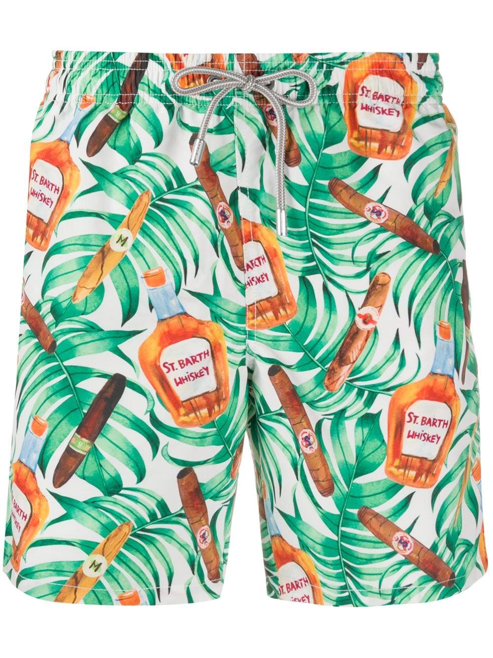 Green leaves and whiskey Gustavia Buena Vista print swim shorts  MC2 |  | GUSTAVIA-BUONA VISTA01