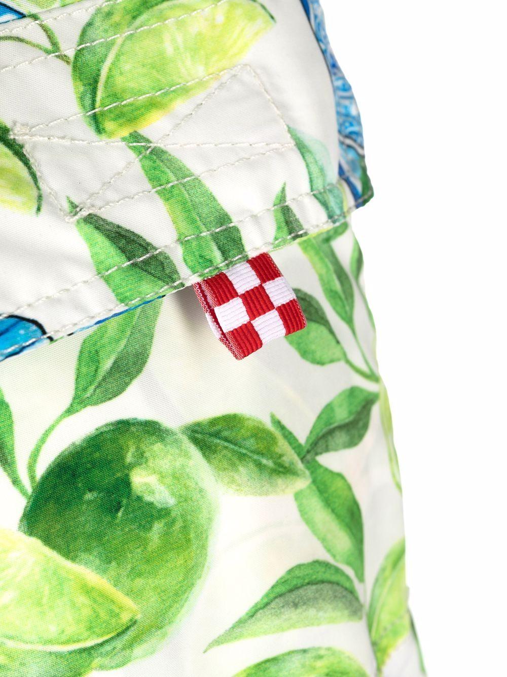 Pantaloncini da bagno blu e lime con stampa grafica bottiglie di Gin MC2   Costumi   GUSTAVIA-GIN LIME01