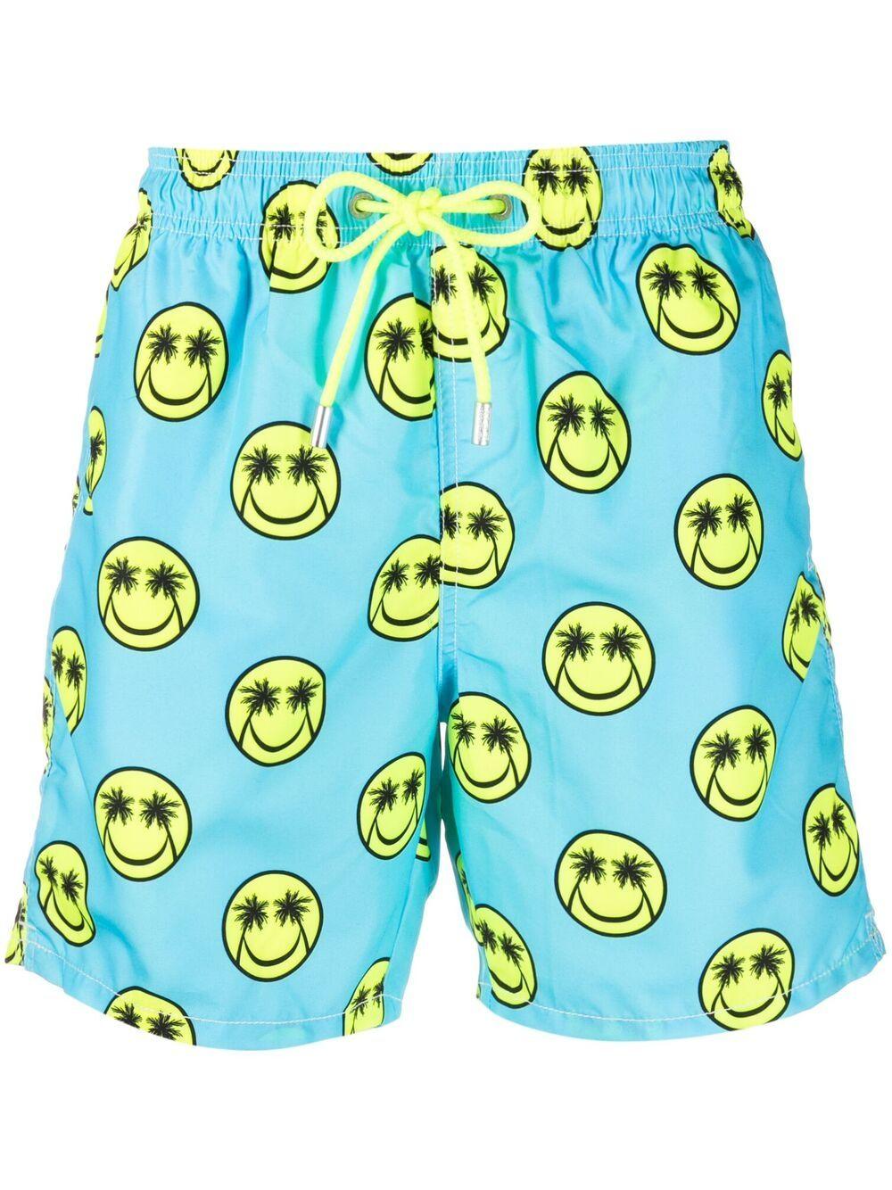 Blue recycled polyester Gustavia Palm Smile print swim shorts  MC2 |  | GUSTAVIA-PALM SMILE56