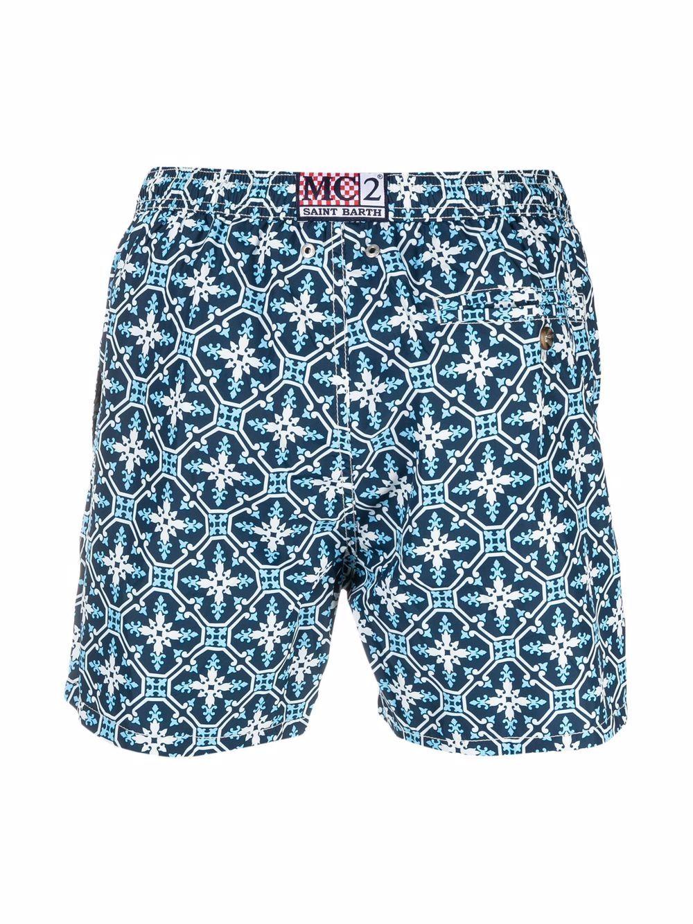 Blue recycled polyester Maiolica print swim shorts  MC2 |  | LIGHTING 70-ACAPULCO6131