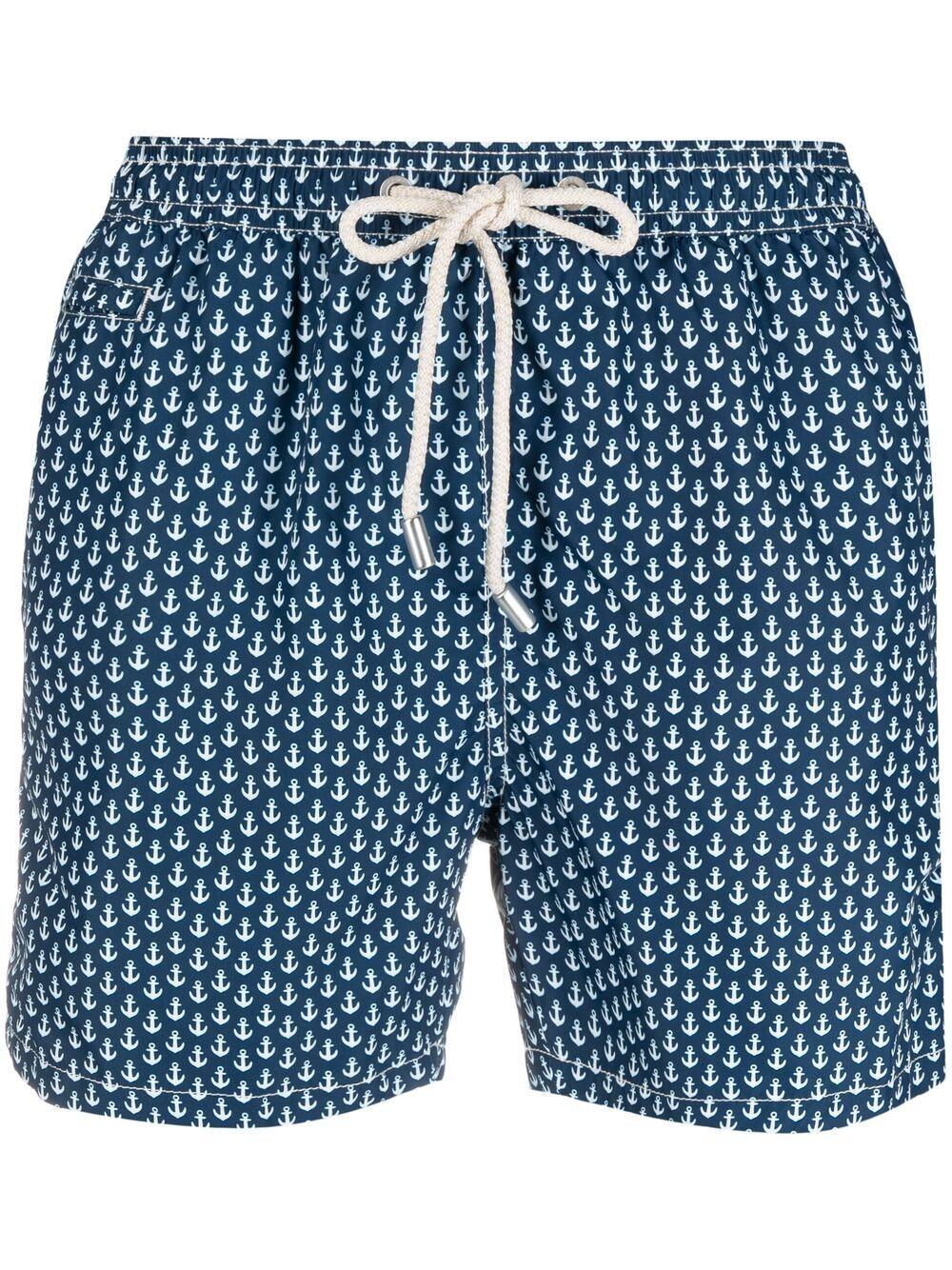 Shorts da bagno blu e bianco in poliestere riciclato con stampa ancora MC2 | Costumi | LIGHTING MICRO FANTASY-ANCHOR TIE61