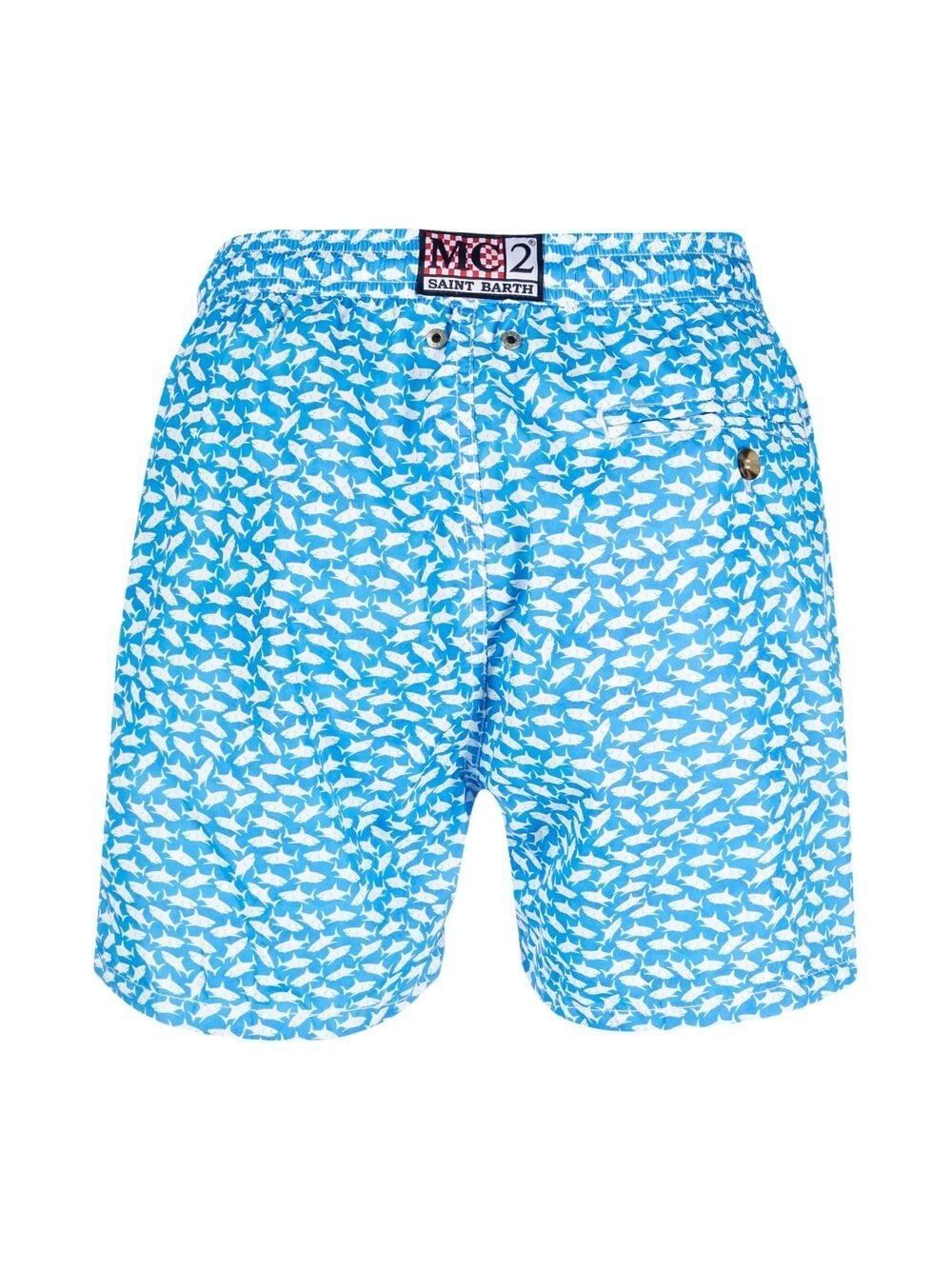 Sky blue and white recycled material shark-print swim shorts MC2 |  | LIGHTING MICRO FANTASY-BALIKA3117