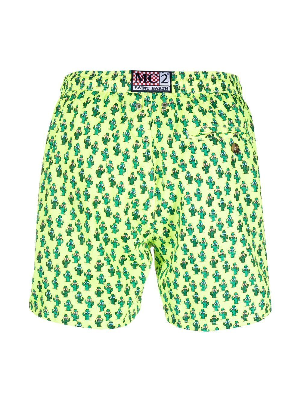 Shorts da bagno giallo fluo in poliestere riciclato con stampa Cactus MC2 | Costumi | LIGHTING MICRO FANTASY-CACTUS SUN94