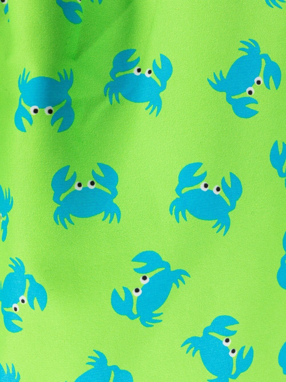 Green recycled polyester Crab print swim shorts  MC2 |  | LIGHTING MICRO FANTASY-CRAB FLUO7531