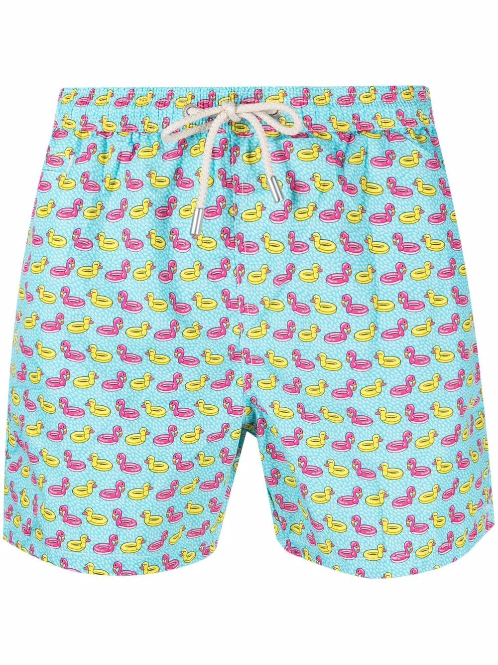 Turquoise-blue,pink and yellow stretch-recycled polyester swim shorts  MC2      LIGHTING MICRO FANTASY-DUCKY FLAMINGO56