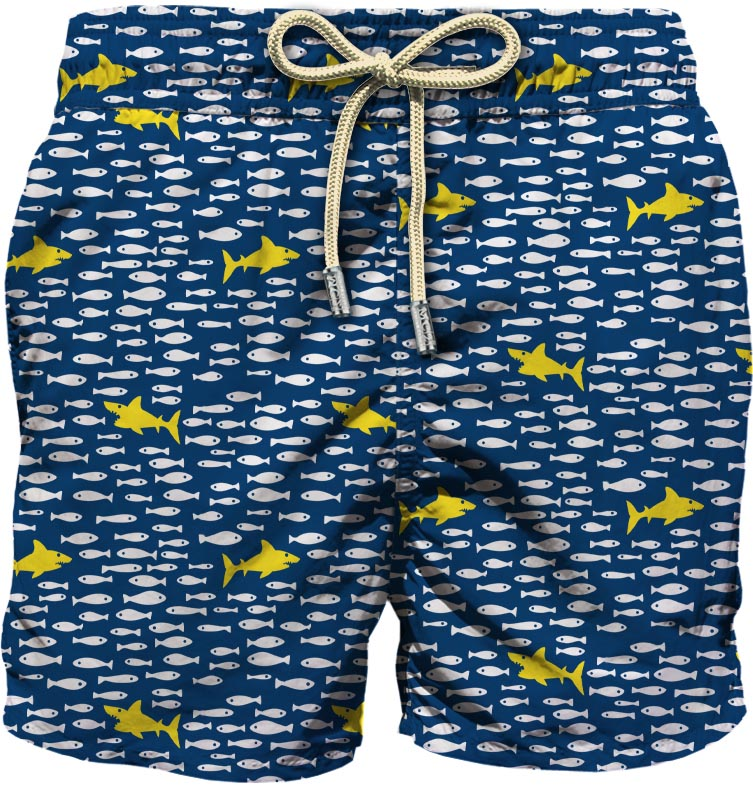 blue,white and yellow recycled polyester shark graphic-print swim shorts  MC2 |  | LIGHTING MICRO FANTASY-FISH IN SHARK61