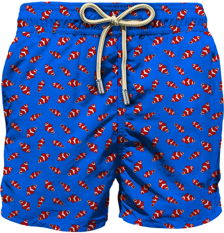 Royal blue recycled material red fish-print swim shorts MC2      LIGHTING MICRO FANTASY-FISHY17