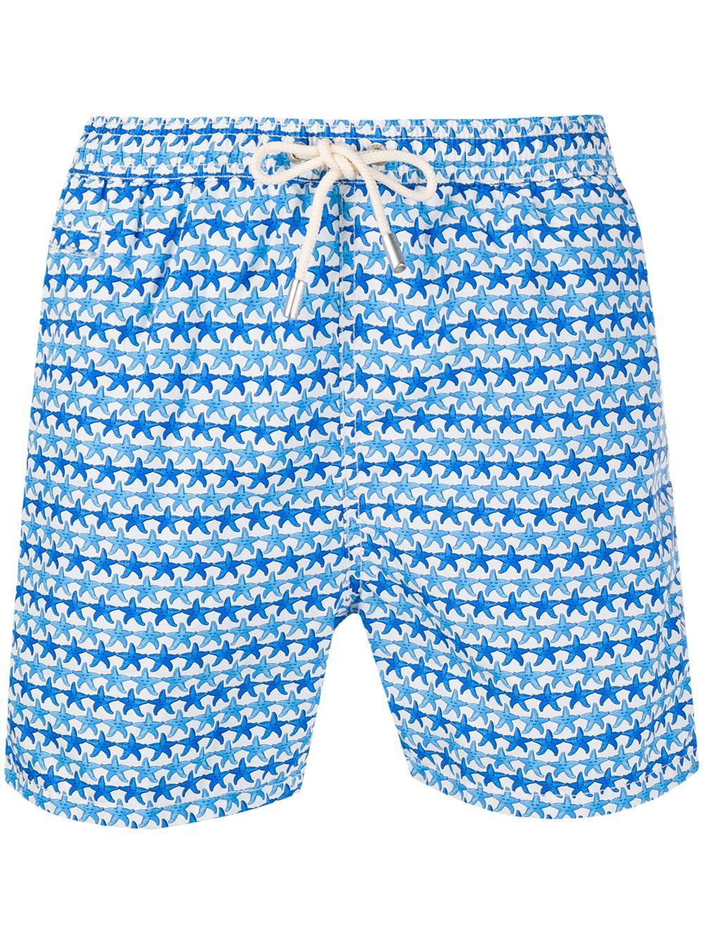 Blue and white recycled polyester starfish print swim shorts MC2 |  | LIGHTING MICRO FANTASY-FRIENDLY STARFISH01