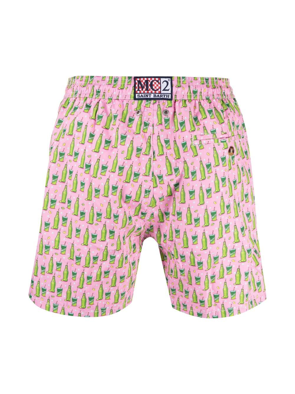 Pink and green Sprite print swim shorts  MC2 |  | LIGHTING MICRO FANTASY-SPRITE MINI21