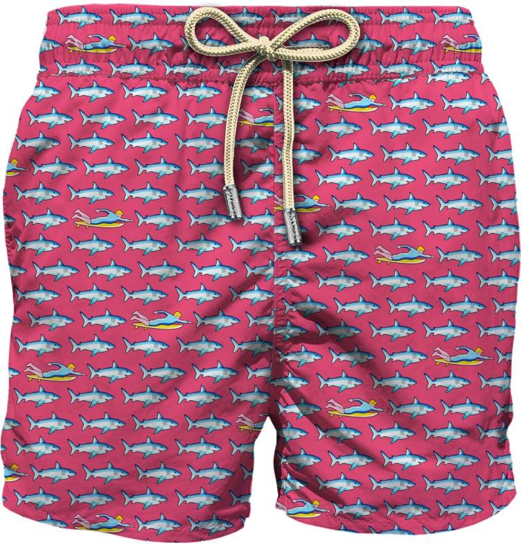 pantaloncini da bagno rosa con stampa grafica in poliestere riciclato MC2 | Costumi | LIGHTING MICRO FANTASY-SURF RIDER25