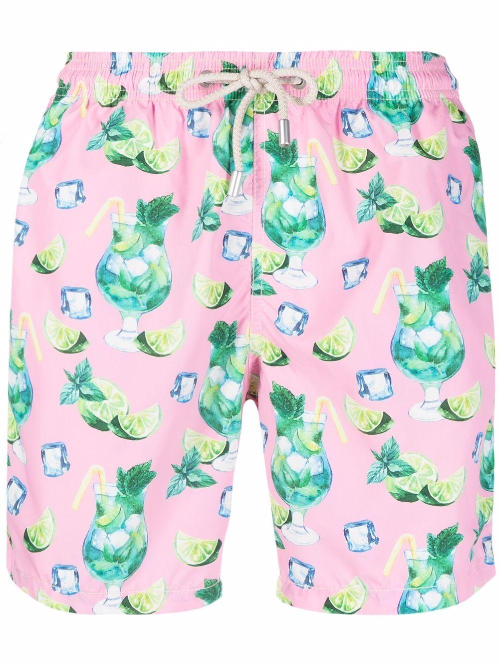 pantaloncini da bagno rosa in poliestere riciclato con stampa mojito MC2 | Costumi | LIGHTING-COOL MOJITO21