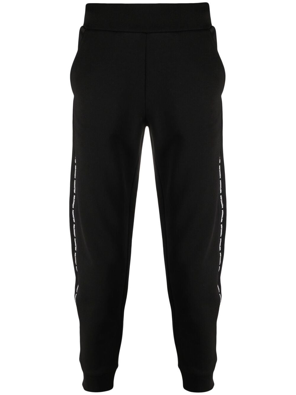 Pantaloni sportivi in cotone nero con pannelli laterali decorati con logo Moncler MONCLER | Pantaloni | 8H732-00-809KR999