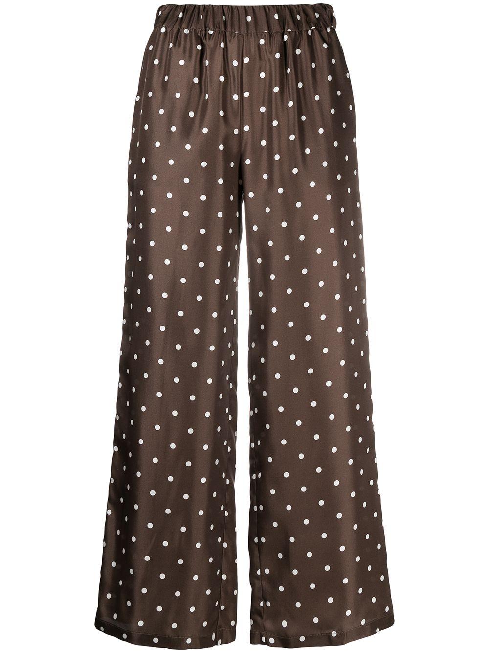Pantaloni palazzo marroni in seta stampata a pois P.A.R.O.S.H. | Pantaloni | D230260-SIPO808