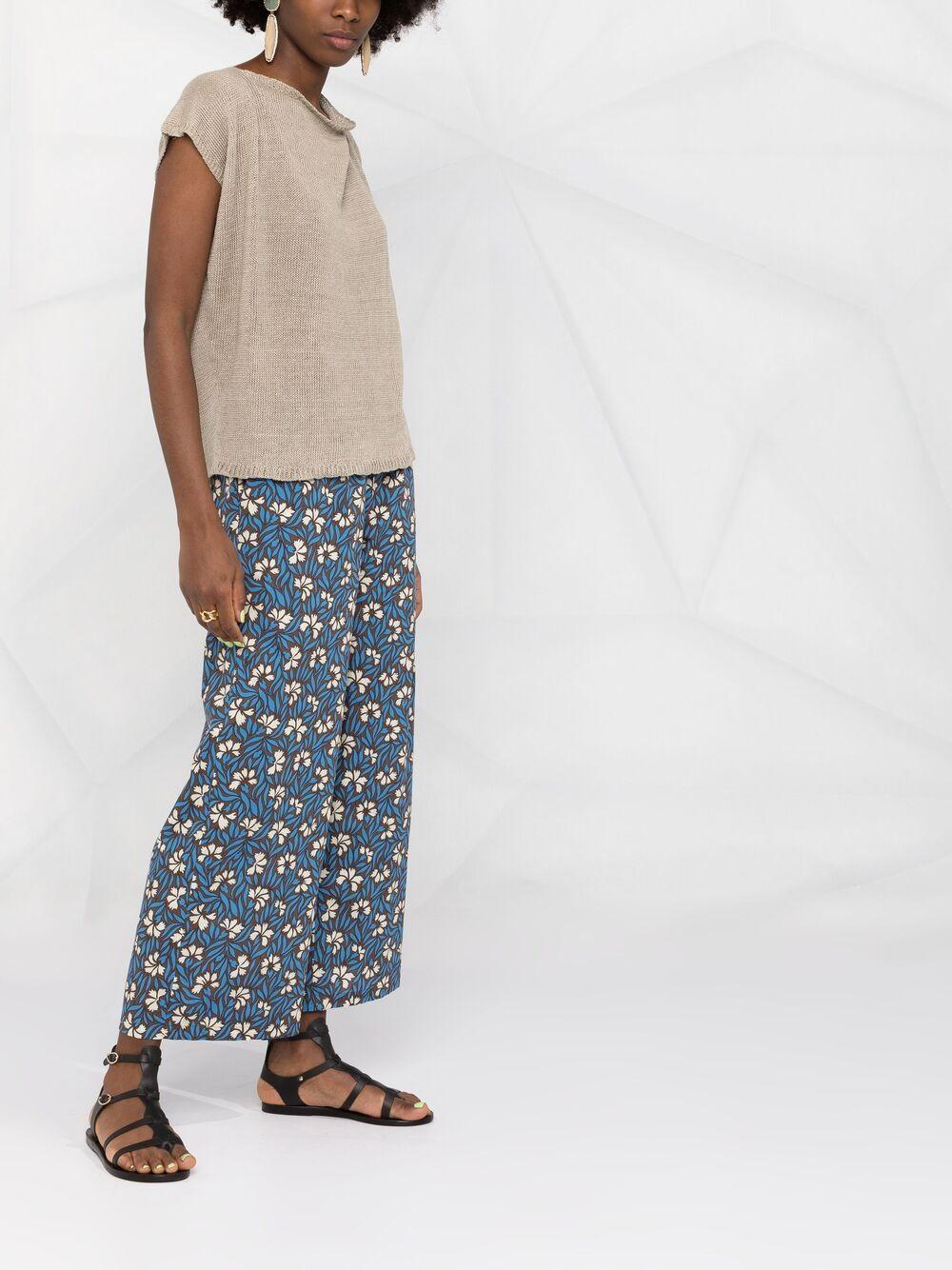 blue cotton floral-print wide-leg trousers  P.A.R.O.S.H. |  | D231458-CLEPTO846