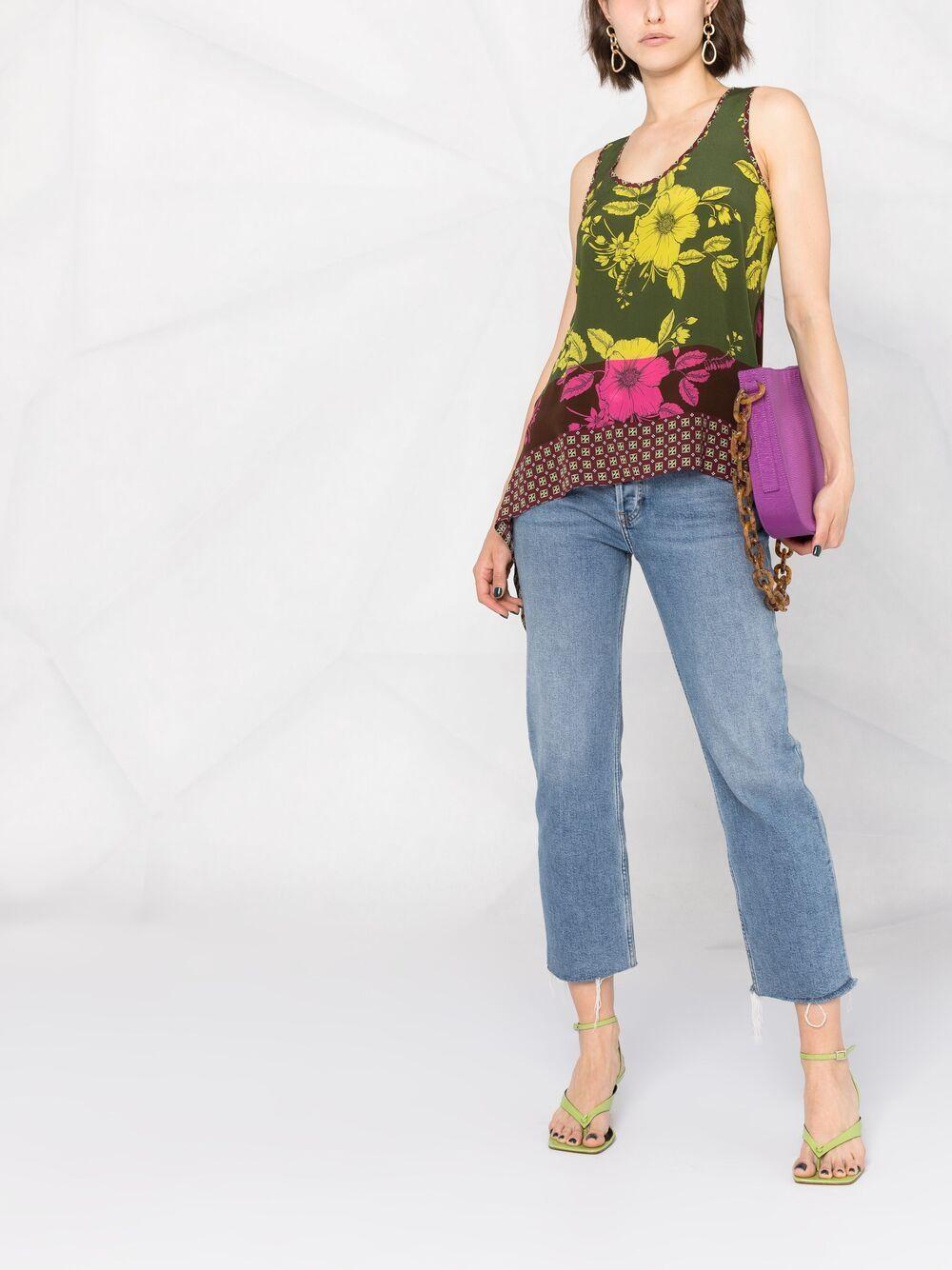 Canotta con scollo a V in seta multicolore con stampa floreale astratta P.A.R.O.S.H. | Camicie | D311293-SAFIX807