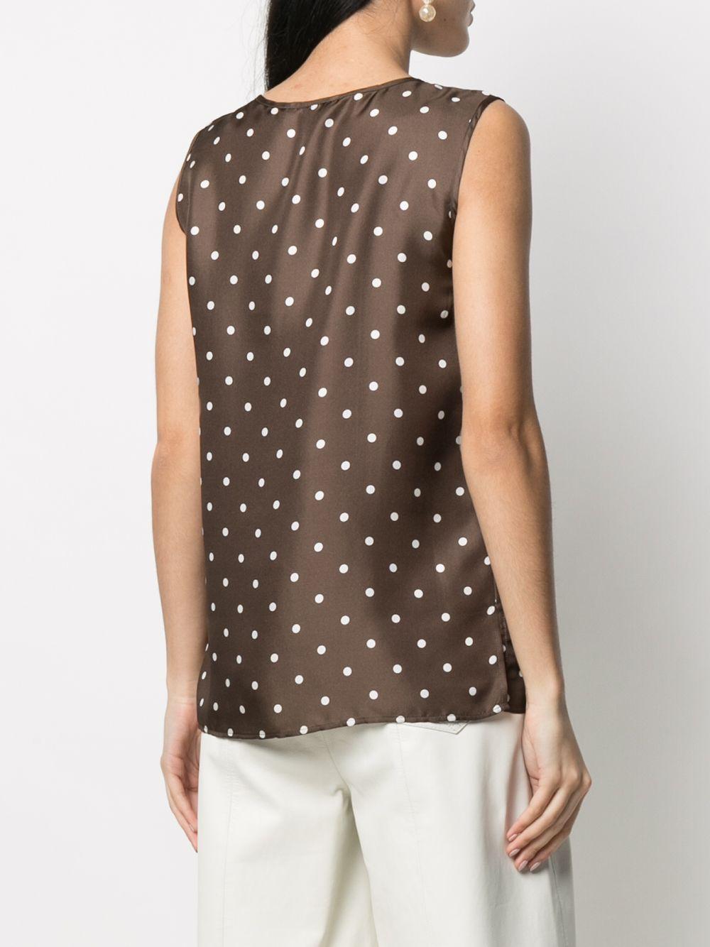 Blusa senza maniche a pois in seta color cioccolato P.A.R.O.S.H. | Camicie | D312010-SIPO808