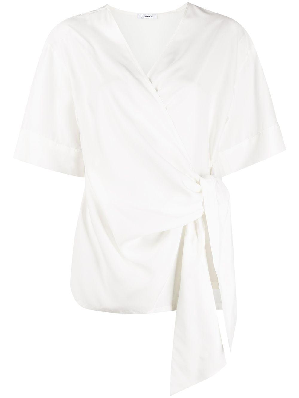 White silk wraparound-style V-neck silk top  P.A.R.O.S.H. |  | D312014-SEITAN002