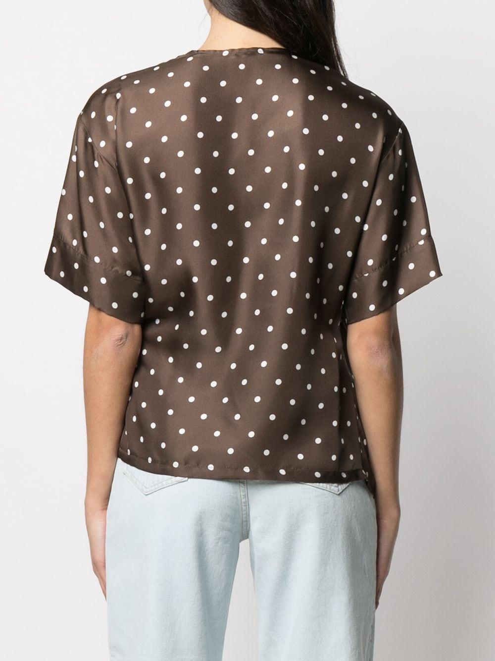 Maroon brown silk polka-dot wrap silk blouse featuring V-neck P.A.R.O.S.H. |  | D312014-SIPO808