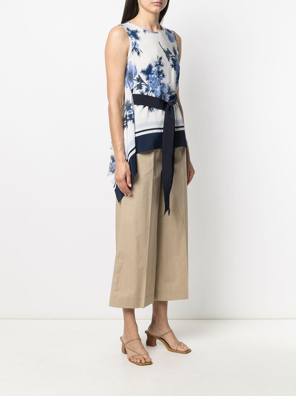 Blusa con stampa floreale in seta bianca e blu navy P.A.R.O.S.H. | Camicie | D312216-SEBLU812