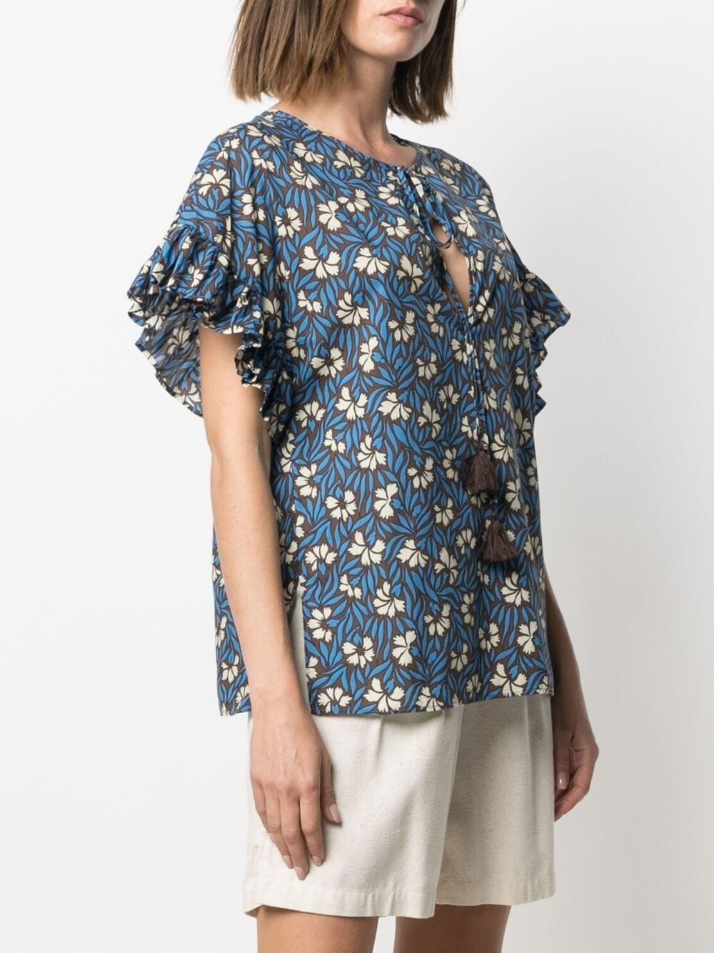 blue cotton floral-print ruffled blouse  P.A.R.O.S.H. |  | D312244-CLEPTO846