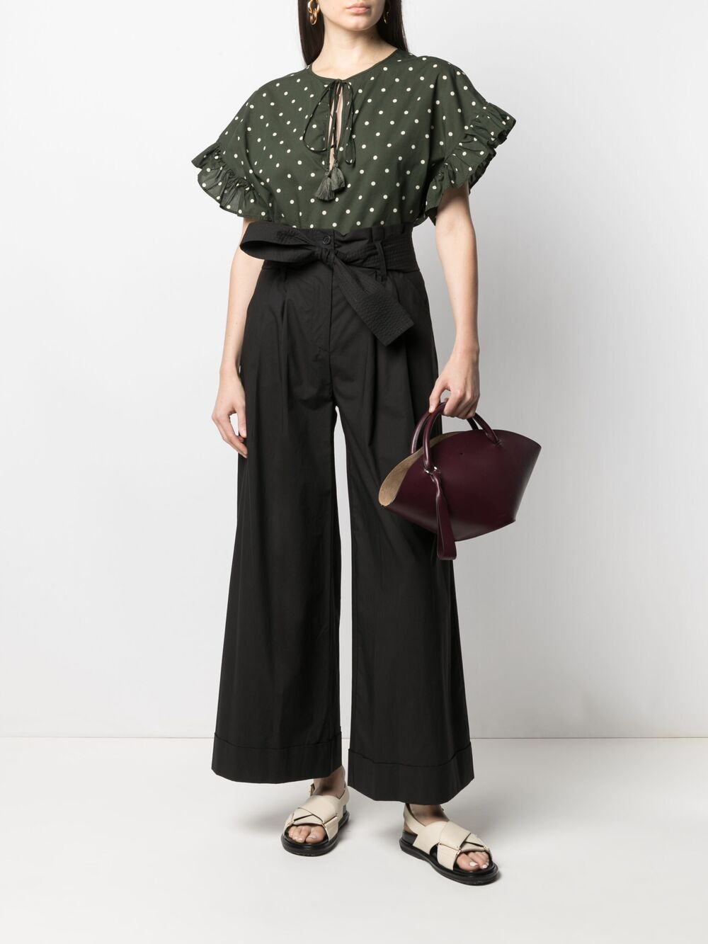 Blusa Clois in cotone verde con stampa a pois P.A.R.O.S.H. | Camicie | D312244-CLOIS807