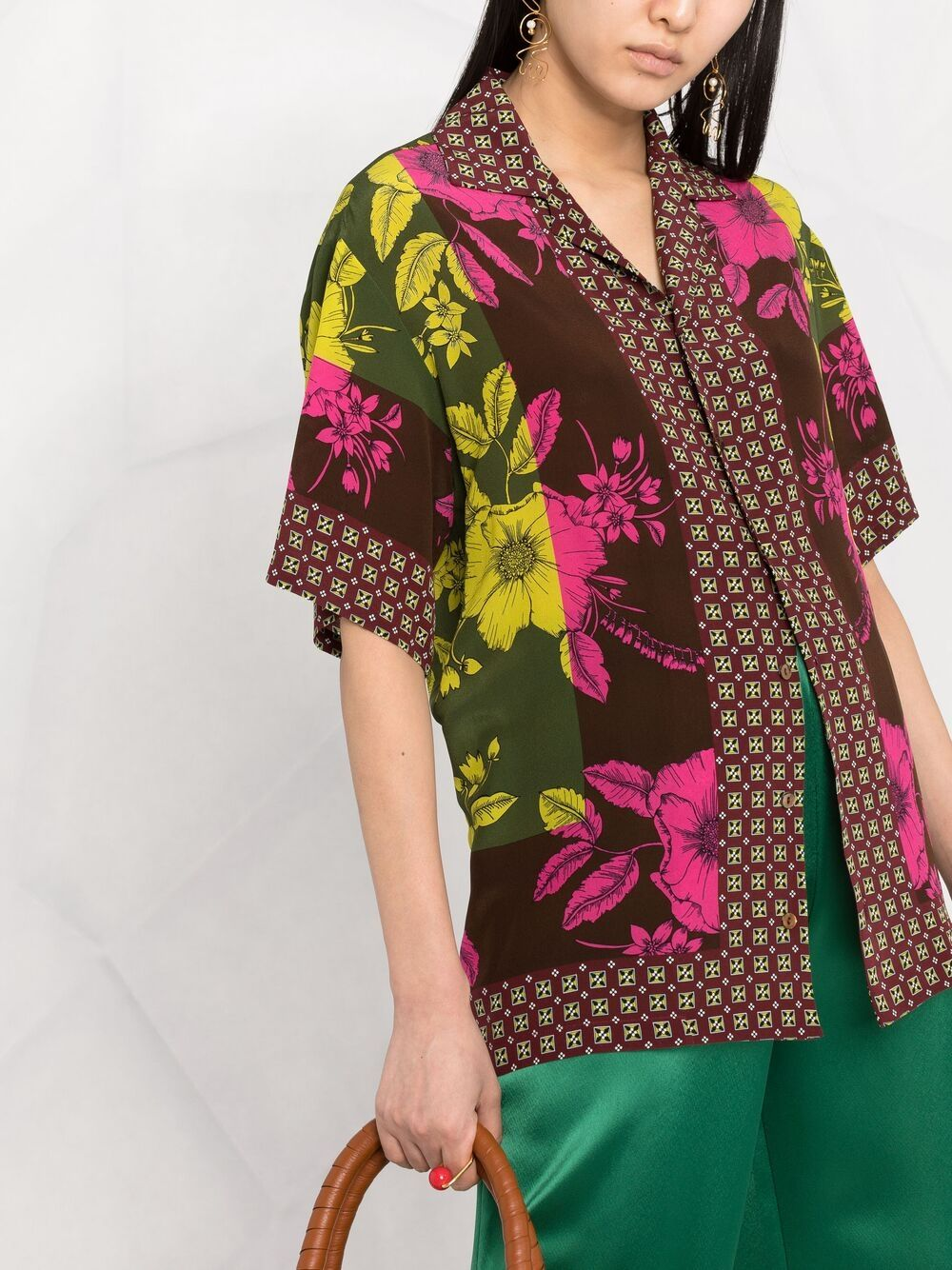 Red and multicolour silk patchwork shirt  P.A.R.O.S.H. |  | D381023-SAFIX807