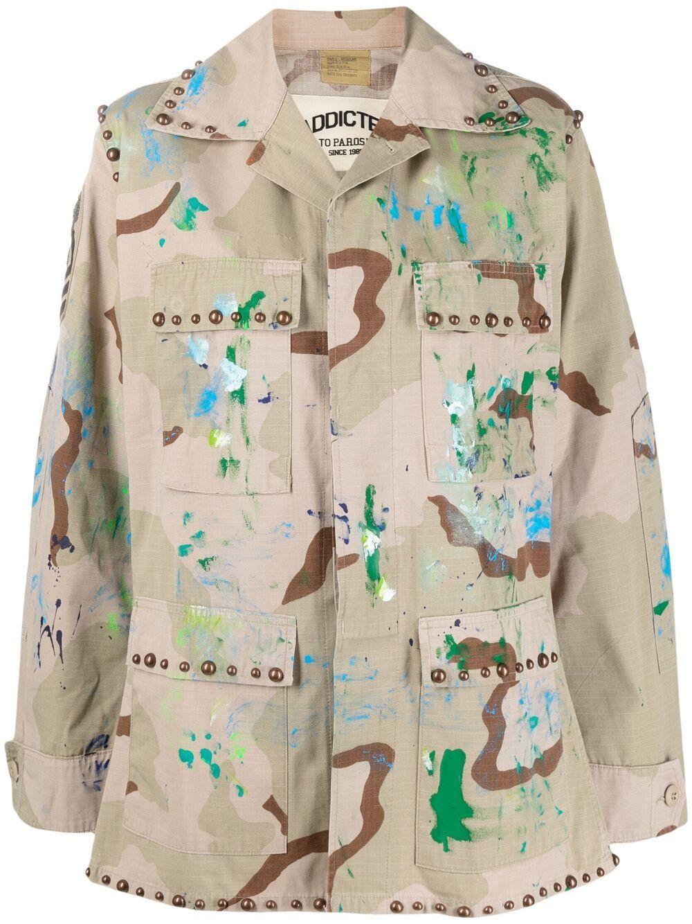 Giacca militare color kaki in misto cotone con stampa camouflage P.A.R.O.S.H.   Giacche   D430818S-CATCRUSH803