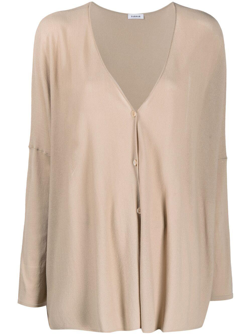 Cardigan beige in maglia con bottoni P.A.R.O.S.H. | Cardigan | D520692-ROIBOS004