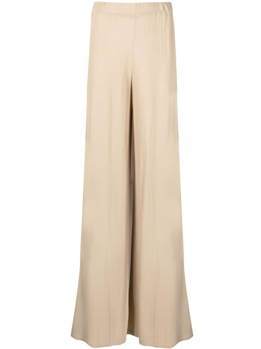 Pantaloni beige a vita alta a gamba larga con design drappeggiato P.A.R.O.S.H. | Pantaloni | D570542-ROIBOS004