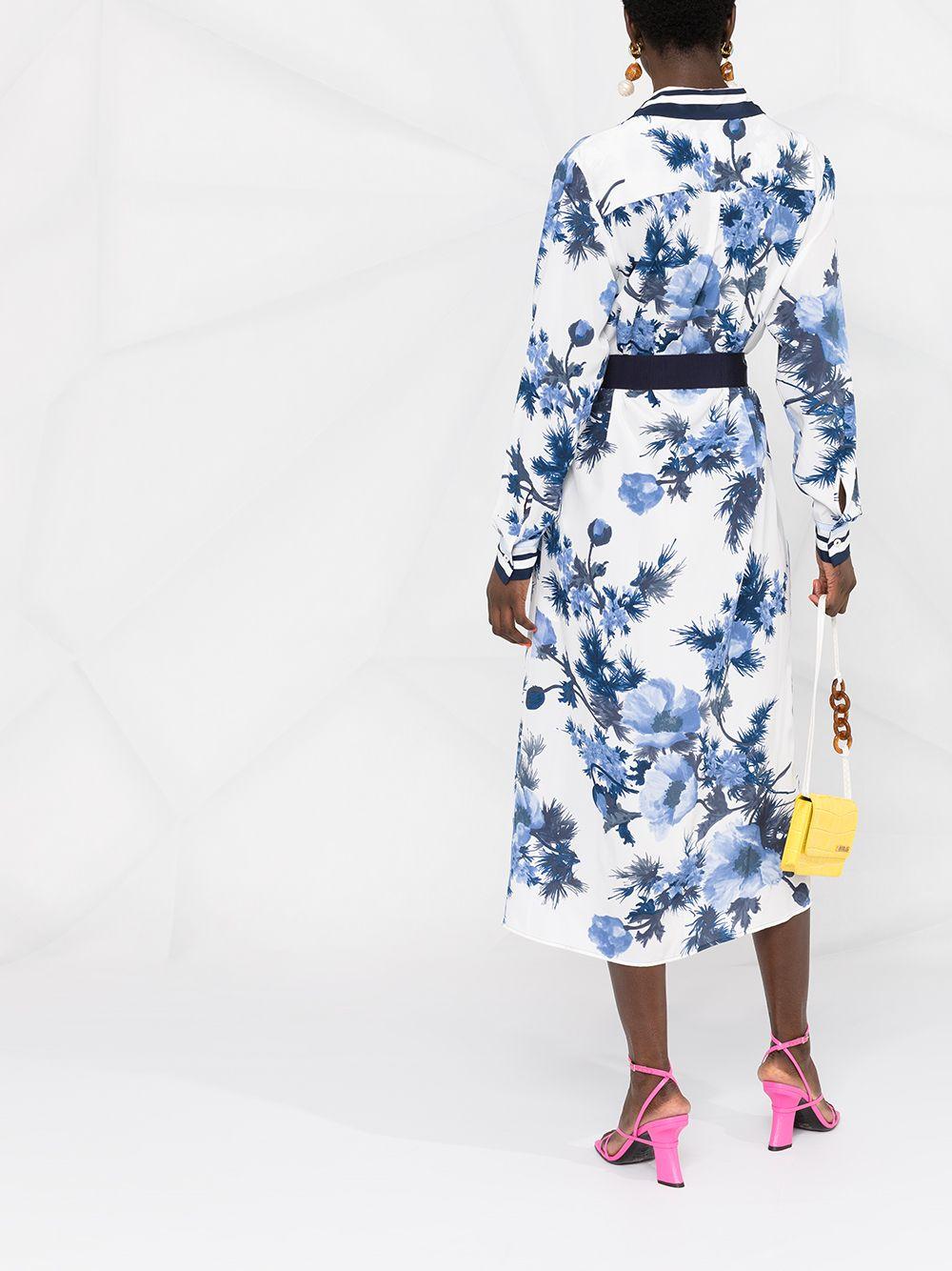 Abito chemisier in seta bianca e blu con stampa floreale P.A.R.O.S.H. | Abiti | D723493-SEBLU812