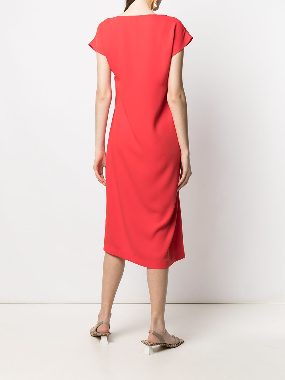 Red ruched side satin dress  P.A.R.O.S.H. |  | D724057-PANTY009