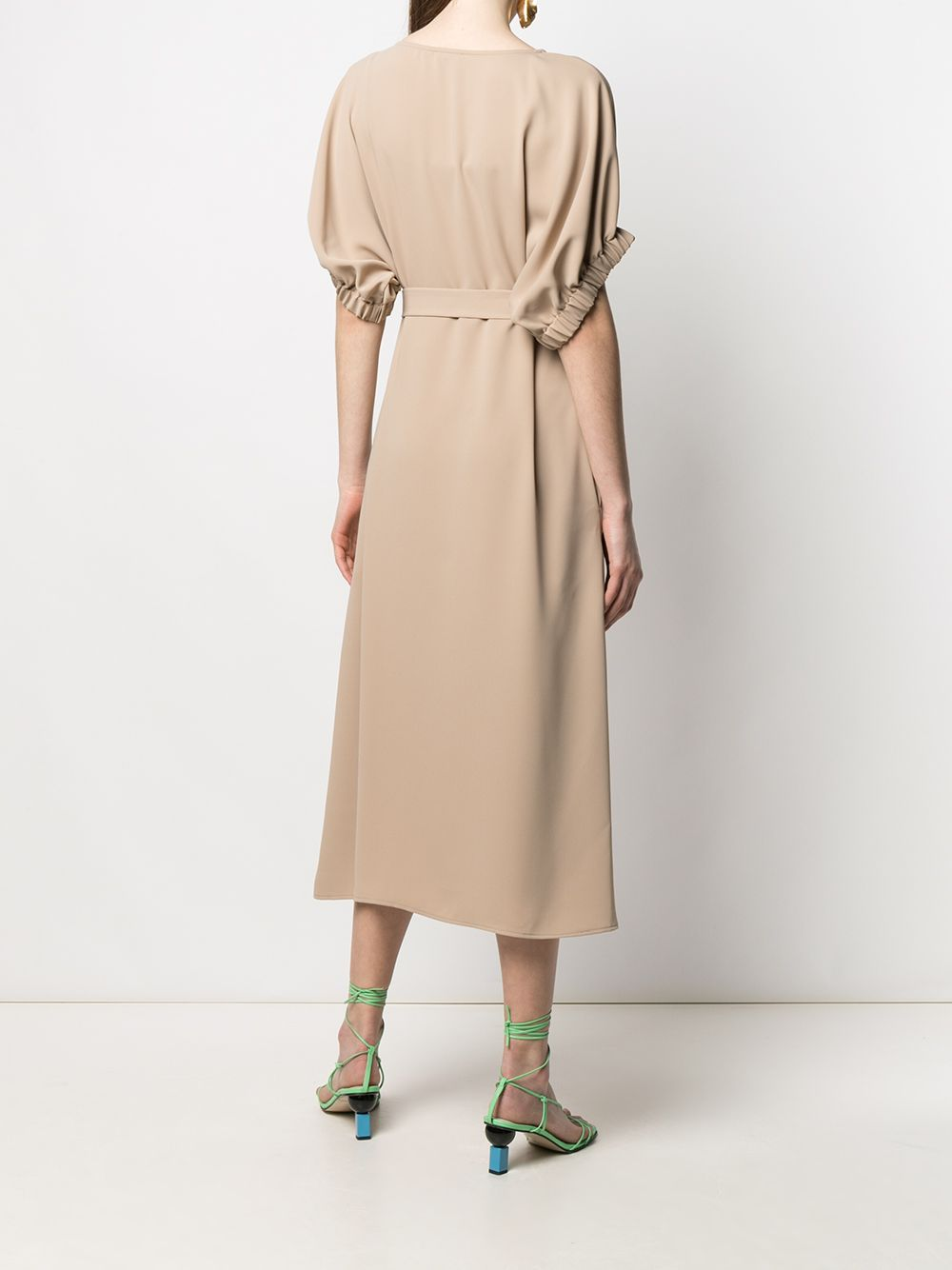 Beige V-neck tie waist dress featuring side fastening P.A.R.O.S.H.      D724061-PANTY004